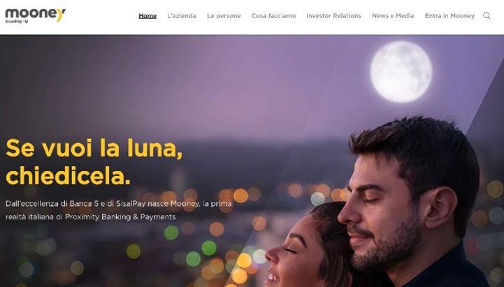 Il sito di Mooney, nuovo brand di SisalPay - Banca 5