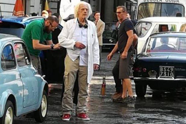 L'attore durante le riprese dello spot