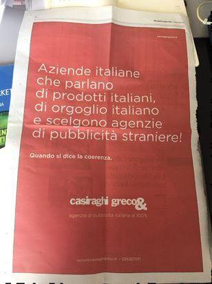 La pagina pubblicata sul Corriere