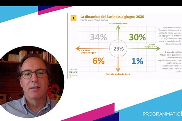 Giacomo Fusina e una slide della ricerca Yoursight