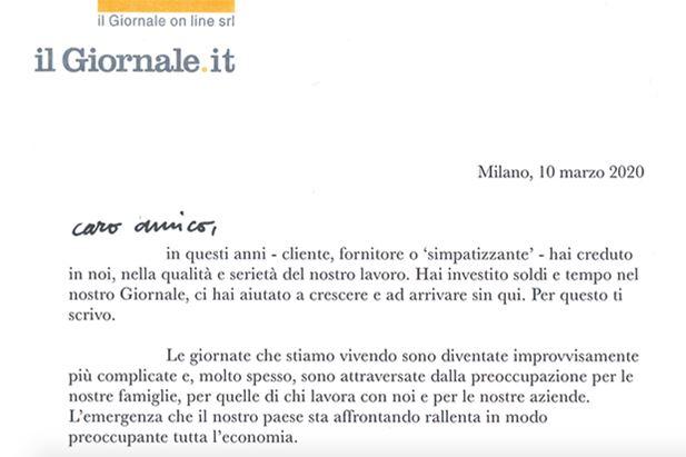 Uno stralcio della lettera firmata da Andrea Pontini