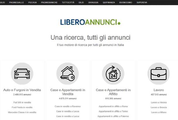 La home page di Libero Annunci
