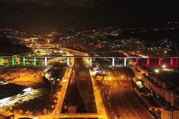 Un'immagine del nuovo Ponte di Genova nel nuovo spot ACI
