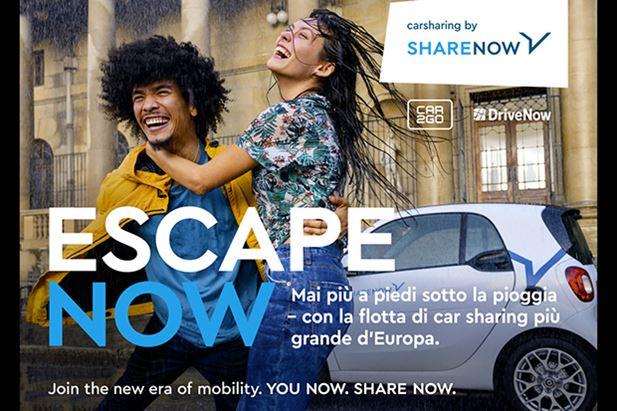 Uno dei visual della campagna Share Now pianificati in Italia