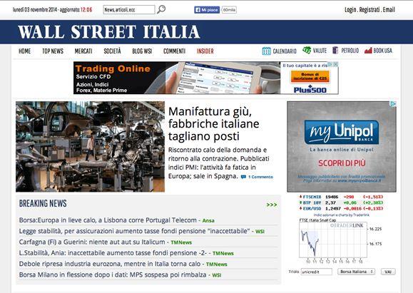 Dettaglio del sito Wall Street Italia