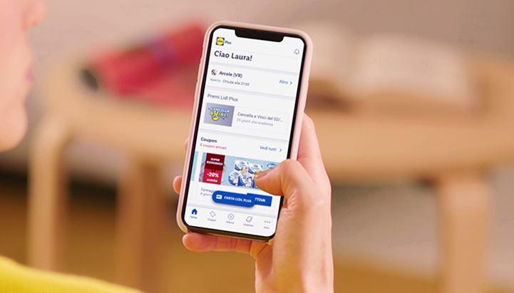 Un'immagine dell'app Lidl Plus, il nuovo programma fedeltà tutto digitale di Lidl