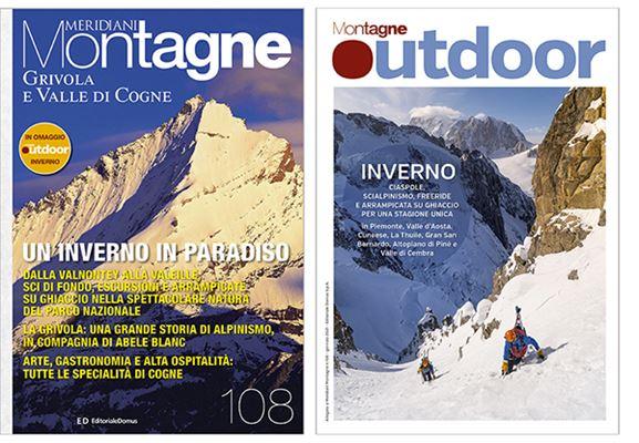 """Le copertine di Meridiani Montagne """"Grivola e Valle di Cogne"""" e dello speciale Outdoor Inverno"""