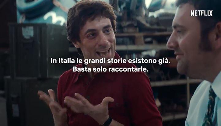 Un'immagine del nuovo spot Netflix dedicato alle produzioni italiane