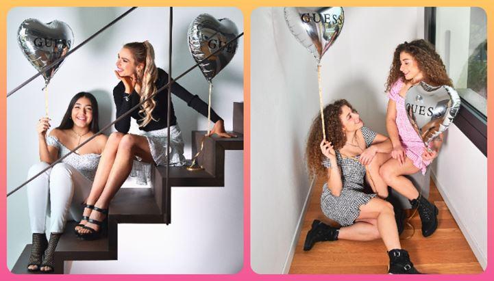Da sinistra, Jessica Brugali e Noa Planas, e Ylenia e Nicole de LeTwins, protagoniste per Guess