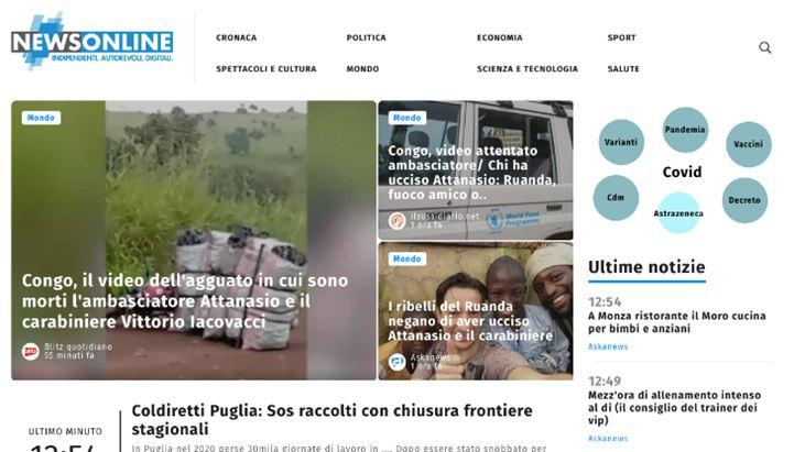 Una immagine del nuovo sito Newsonline.it