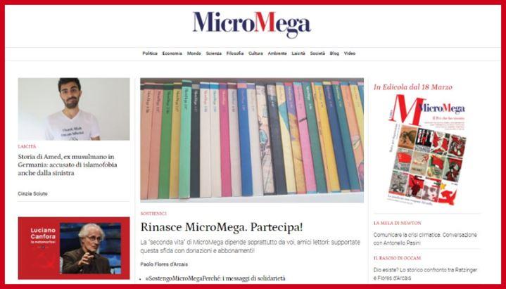La nuova homepage del sito di MicroMega