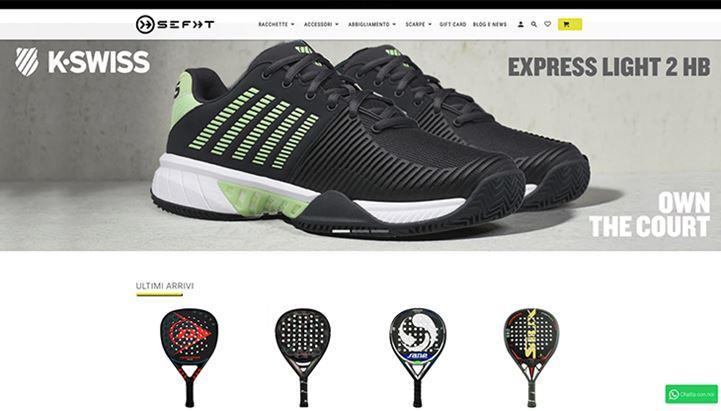 Una schermata del sito e-commerce di Sefht