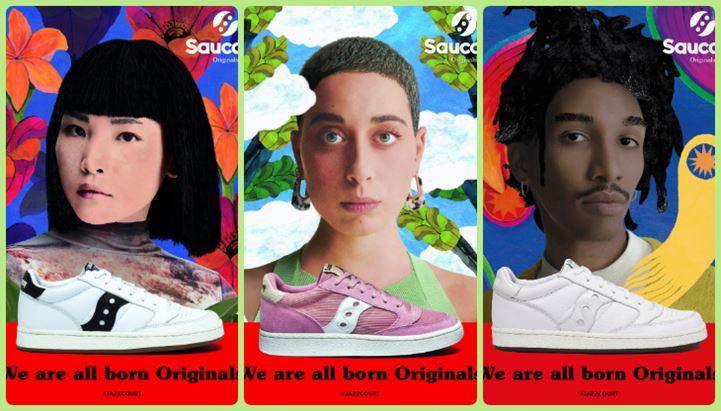 Un collage delle immagini della nuova campagna Saucony