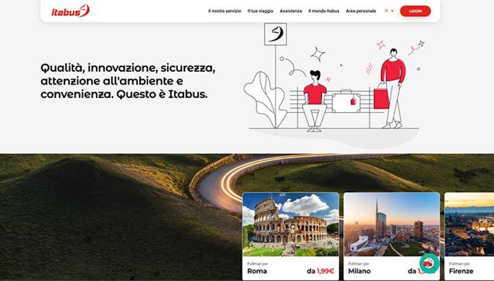 Un'immagine della homepage del sito di Itabus
