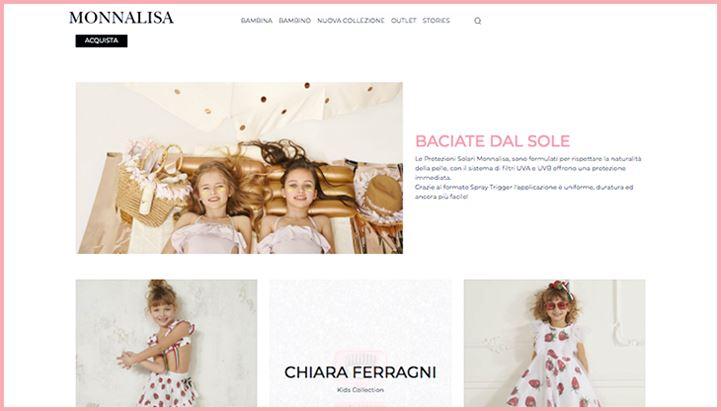 Un'immagine del sito di Monnalisa