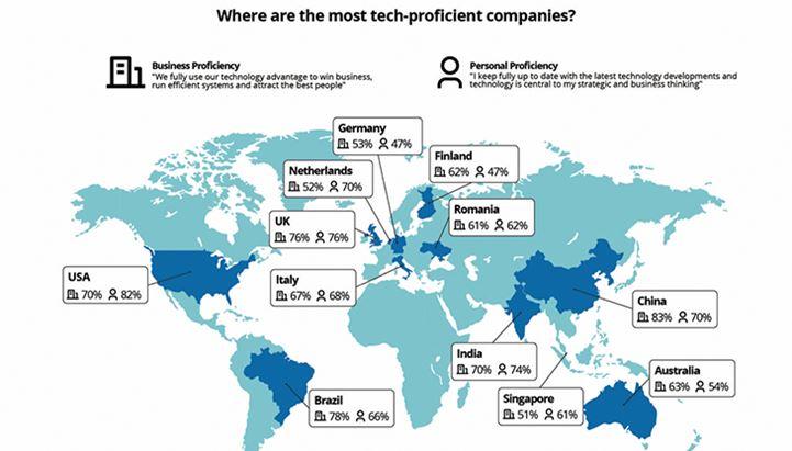 La mappa dei paesi con le aziende più tecnologicamente avanzate secondo il report di ThoughtWorks