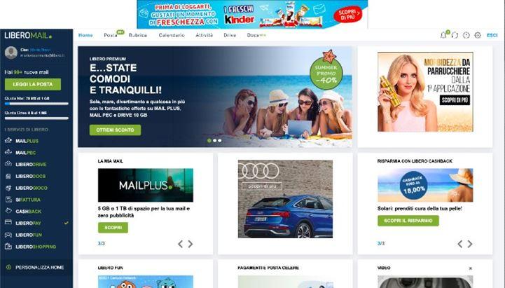 La nuova welcome page della Libero Mail, ricca di contenuti e servizi