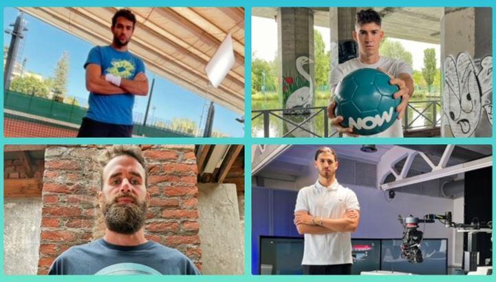 Alcune immagini tratte dal nuovo spot NOW con Berrettini, Bastoni, Datome e Giovinazzi