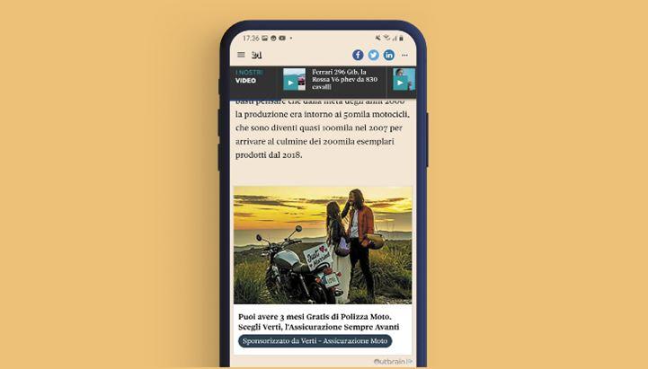 Un'immagine della campagna realizzata da Verti sui formati Outbrain
