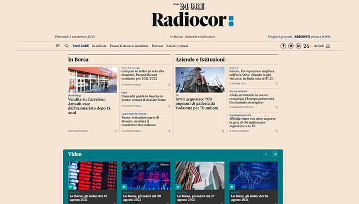 Un'immagine del nuovo canale Radiocor del sito del Sole 24 Ore