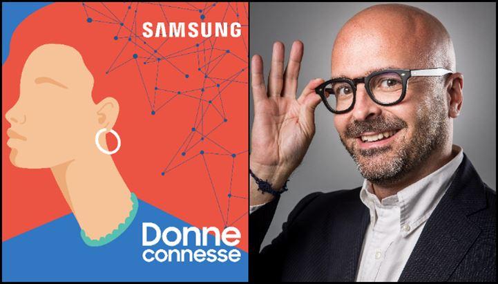 Sa sinistra, la locandina della nuova serie di podcast Samsung, e Francesco Cordani, Head of Marcom dell'azienda