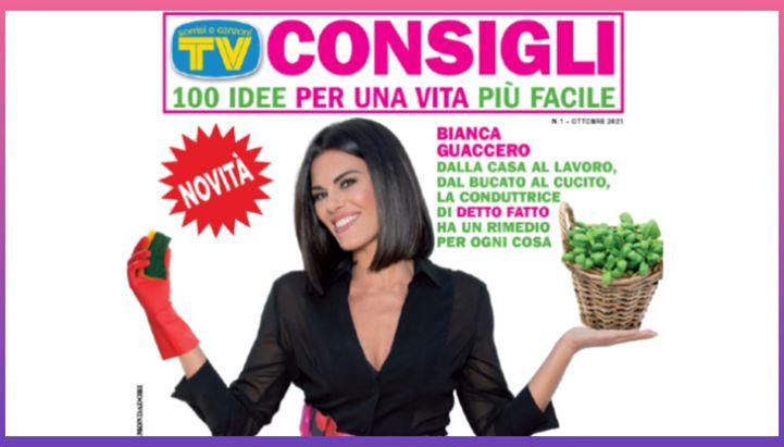 Un dettaglio della copertina del primo numero di Tv Sorrisi e Canzoni Consigli con Bianca Guaccero